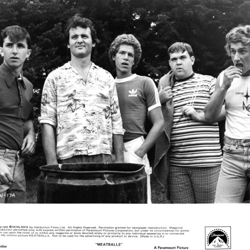 Jack Blumm, Bill Murray, Russ Banham, Keith Knight, and Matt Cravenn look over the summer's new recruits in a scene from the film 'Meatballs', 1979. (Photo by Paramount/Getty Images)